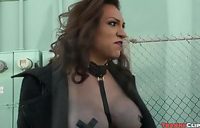 Breasty shemale in sexy lingerie having anal