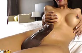 Asian shemale jizz soaked