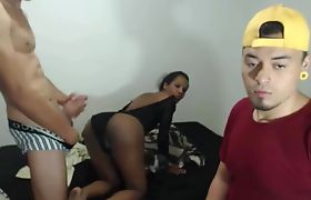 Sexy Shemale Pounded Hard In Front Of His Friend