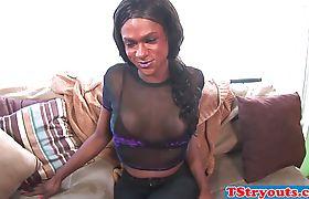 Ebony ts casting chick masturbates hard