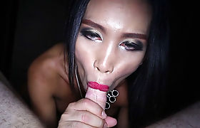 Naughty thai shemale sucks a boyfriends big hard cock