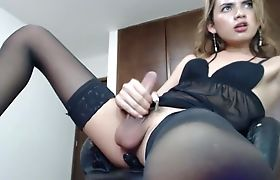 Shemale Cutie In Stockings - Anal Masturbation
