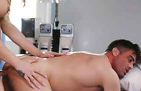 Wild busty nurse shemale banged a client in his ass