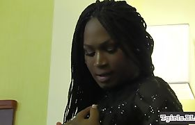 Black tgirl bends over and masturbates