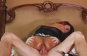 Asian shemale sucks off and gets her ass boned bareback