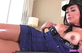 Shemale cop with big cock gets her ass fucked hard