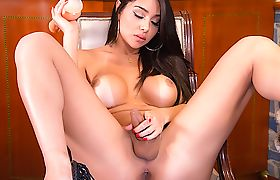 Slinky Shemale Jessy Lemos Rides a Fat Dildo with Her Puckered Asshole