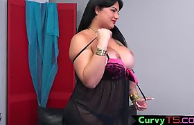 Chubby shemale babe tugging hard cock