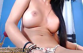 Busty teasing with her hard tgirl cock