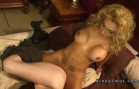 Three trannies dominate and fuck guy