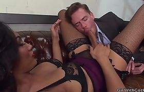 Ts secretary in stockings banging boss