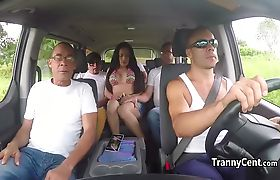 Tranny gangbanged by five big cocks