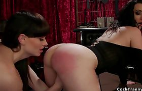 Tranny rimming and anal fucking brunette