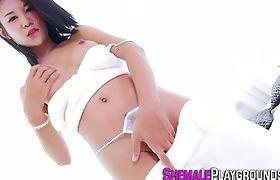 Asian ladyboy jizzed on