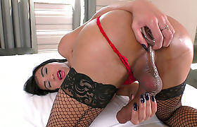 Busty TS latina masturbates her shecock and toyed her ass