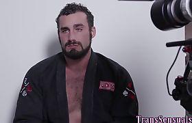Erotic asian trans babe spunking