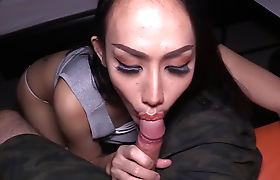Asian bareback queen gets her ass fucked POV style