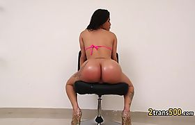 Horny latina tgirl rides hard cock