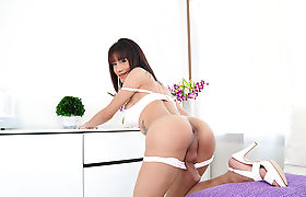 Gorgeous Asian Transbabe Catty loves solo masturbation