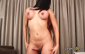 Tgirl enjoyed blowjob and fuck from guy