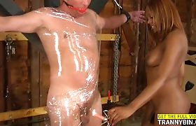 Black TS mistress playing with her slave