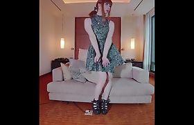 Cute Tokyo CD Crossdresser Training in the Hotel and Gr