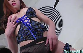 Busty Thai TS Plam in fancy lingerie