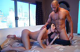 Tanned Trans Khloe Kay gives her man a good blowjob and sex
