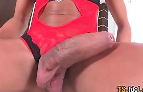 Buxom shemale sucked off before fucking