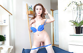 Gorgeous Asian ladyboy Maria in her first solo scene