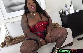 Lingerie TS bbw stroking her black cock
