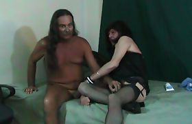 Jamie Sucks and Screws Gena Transvestite Cock Slut