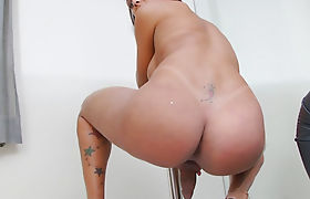 Busty shemale teasing and masturbating her hard dick