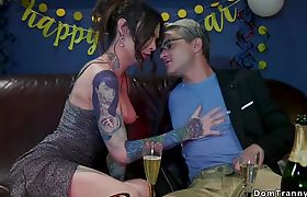 Tattooed shemale anal fucks blond male