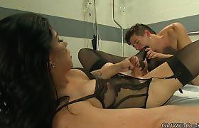 Tranny nurse in lingerie anal fucks