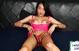 Busty asian ladyboy masturbating