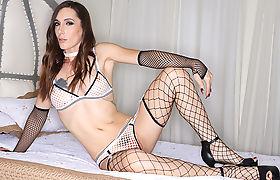 Hot Guy tries banging Transbabe Melanie Brooks tight butthole