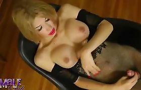 Stunning Alexis jerks her Hard Cock