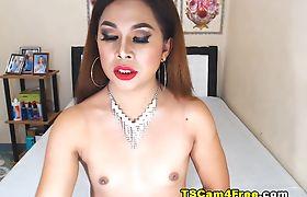 Sizzling Pretty Tranny Masturbating Her Cock