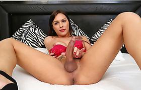 Horny Slutty TS Sarah Oliveira bangs dudes butthole