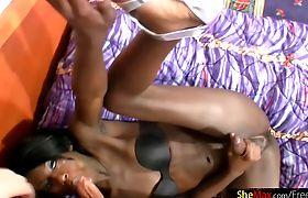 Feminine ebony cock girl sucks in POV and cums on her belly