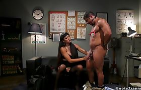 Shemale anal fucks muscled colleague