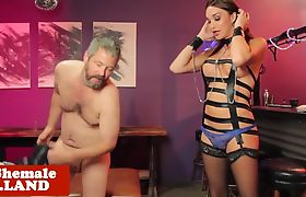 Lingeried tgirl dominates sub wearing chasity