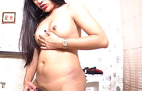 Sexy busty ladyboy satisfied a horny guy with hands