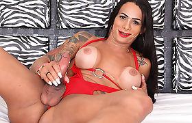 Damn gorgeous Latina TS Rosy goes solo masturbation