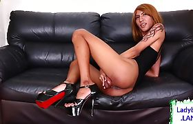 Cute asian tgirl takes her cock out