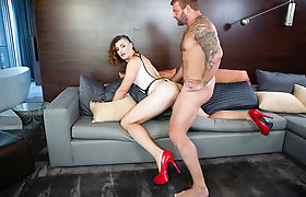 Horny TS brunette Allysa Etain suck and bareback by big cock