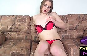 Spex amateur shemale rubbing her new pussy
