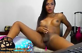 Busty Brunette Beauty Gives Solo Cock Wanking Show