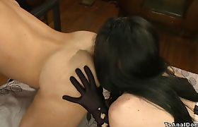 Tranny rimming and anal fucking guy